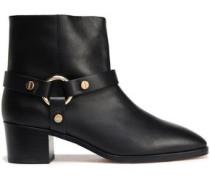 Embellished Leather Ankle Boots Black