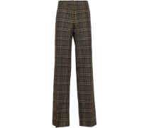 Checked Wool Wide-leg Pants Brown