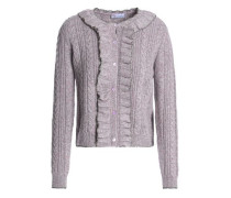 Ruffle-trimmed marled cable-knit sweater