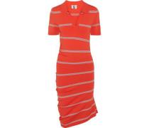 Margot asymmetric striped stretch-knit dress