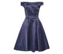 Off-the-shoulder Embellished Duchesse-satin Dress Indigo