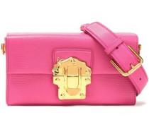 Lizard-effect Leather Shoulder Bag Fuchsia Size --