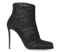 Ruched Tulle Ankle Boots Black