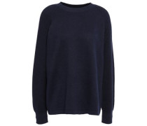 Rib-paneled Knitted Sweater Midnight Blue