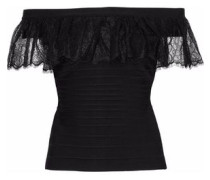 Off-the-shoulder ruffled lace-trimmed bandage top
