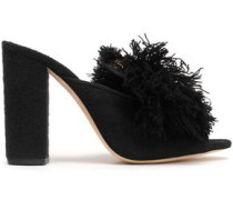 Fringed Embroidered Felt Mules Black
