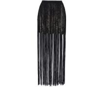 Fringed lace and satin mini skirt