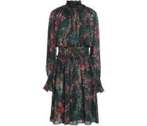 Shirred printed silk-chiffon dress