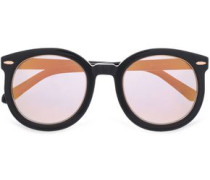 Round-frame Acetate And Rose Gold-tone Sunglasses Black Size --
