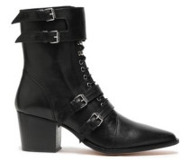 Buckled Lace-up Leather Ankle Boots Black