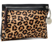 Embellished leopard-print calf hair and leather pouch