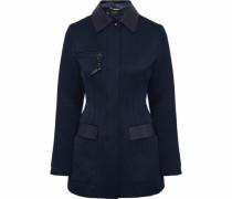 Leather-paneled satin-twill jacket