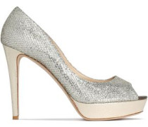 Dahlia glittered mesh and snake-effect leather platform pumps