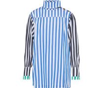 Paneled striped cotton-poplin top