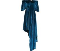 Courtney asymmetric pleated velvet dress