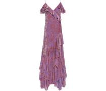 Cold-shoulder Ruffled Devoré-chiffon Gown Lilac Size 12
