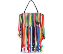 Leather-trimmed Fringed Macramé Shoulder Bag Multicolor Size --