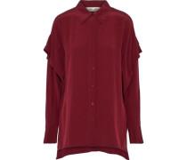 Layered Silk Crepe De Chine Shirt Burgundy