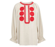 Woman Zida Embroidered Cotton-gauze Blouse Cream