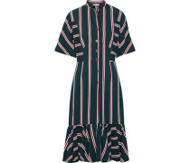 Mermaid Striped Twill Midi Dress Forest Green