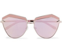 Square-frame rose gold-tone and acetate sunglasses
