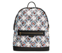 Leather-trimmed Printed Twill Backpack Sky Blue Size --