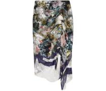 Terence asymmetric devoré silk-blend chiffon midi skirt