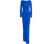 Ruched gathered crepe gown