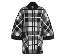 Two-tone checked wool cape