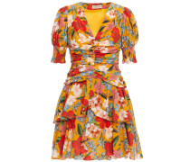 Tiered Ruched Floral-print Cotton And Silk-blend Mini Dress