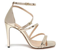 Metallic Leather Sandals Platinum