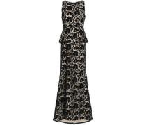 Open-back Macramé Lace Peplum Gown Black Size 0