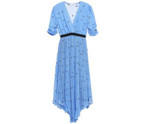 Woman Asymmetric Pleated Embroidered Georgette Midi Dress Blue
