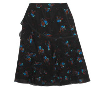 Tiered printed crinkled-silk mini skirt