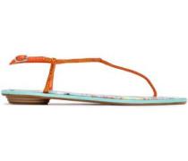 Crystal-embellished Leather-trimmed Satin Sandals Orange