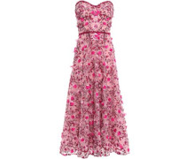 Strapless Embellished Tulle Midi Dress Pink