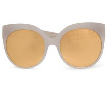 Cat-eye acetate and gold-tone mirrored sunglasses