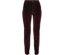 Velvet slim-leg pants