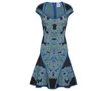 Flared Jacquard-knit Dress Cobalt Blue
