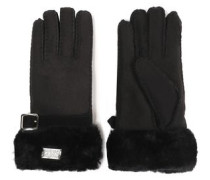 Buckled shearling gloves