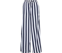 Chloe Striped Poplin Wide-leg Pants Navy