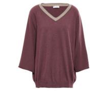 Woman Bead-embellished Cashmere Sweater Grape