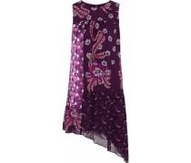Asymmetric paneled printed silk-chiffon mini dress