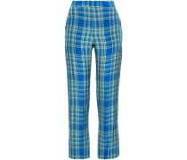 Checked Bootcut Pants Cobalt Blue
