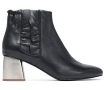 Ruffle-trimmed Leather Ankle Boots Black