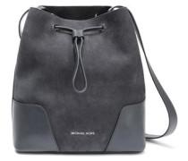 Leather-paneled Suede Shoulder Bag Charcoal Size --