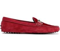 Quilted Velvet-paneled Suede Moccasins Crimson