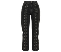 Lace-up High-rise Straight-leg Jeans Charcoal  6