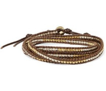Leather And Cord Gold-plated Beaded Wrap Bracelet Dark Brown Size --