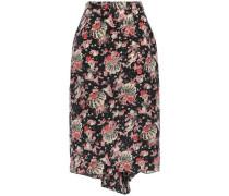 Draped Pleated Silk Pencil Skirt Black